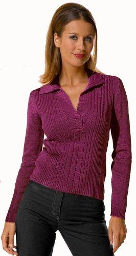 John F. Gee Damen-Pullover V-Pullover lila Gr. 34/36