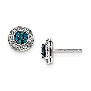 Christmas Sale -14K White Gold Blue & White Diamond Post Earring - Excellent Gift