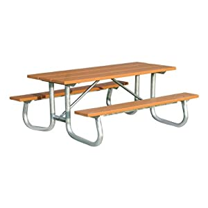 Recycled Plastic Picnic Table w/ Galvanized Steel Frame (6' L) by Jayhawk Plastics, Inc.