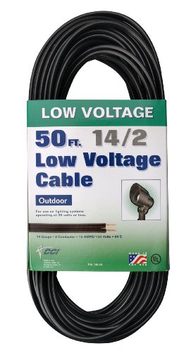 Coleman Cable 09503 14/2 50-Feet Low Voltage Direct Burial Garden Light Cable (Black)