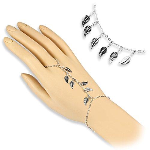 Catenina per mano, in argento, con ciondoli a forma di foglie, da donna (braccialetto e anello)