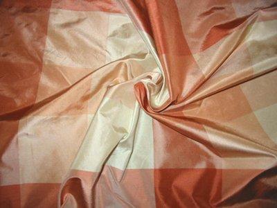 Plaid Silk Taffeta - HAMPTONS COLLECTION - Terra Cotta/Ivory
