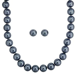 Click to buy Cheap Pearl Necklaces: Grey Shell Pearl Necklace with Matching Earrings from Amazon!