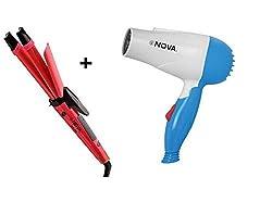 Nova 2 in 1 Straightener + Curler Hair Beauty Set And Nova Foldable Dryer Combo Pack