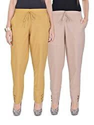 Kalrav Solid Brown and Beige Cotton Pant Combo