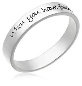 "Sterling Silver ""When You Have Faith, Anything is Possible"" Ring, Size 6"