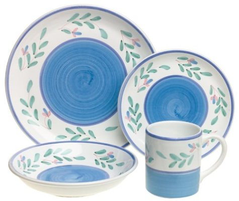 Caleca Blue Garland 16-Piece Dinnerware Set, Service for 4