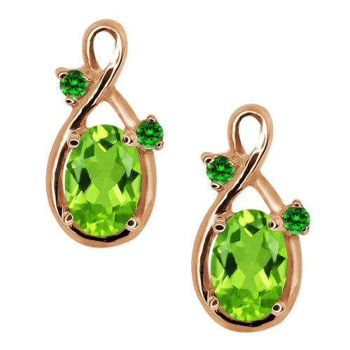 1.08 Ct Oval Green Peridot and Green Diamond 18k Rose Gold Earrings