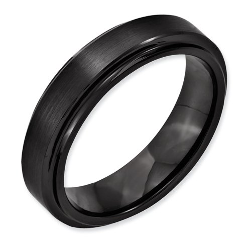 Black Ceramic Ridged Edge 6mm Brushed And Polished Band, Size 11.5