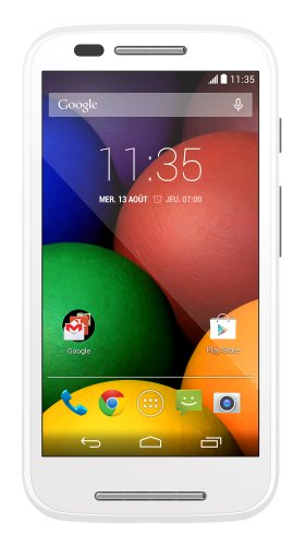 Motorola Moto E Smartphone, Display 4.3 pollici qHD, Processore Qualcomm Dual-Core 1.2GHz, Memoria 4GB, 1GB RAM, Fotocamera 5MP, Android 4.4.2 KitKat, Bluetooth, WiFi, Dual SIM, Bianco [Francia]