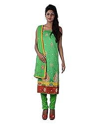 Mumtaz Sons Women's Cotton Unstitched Dress Material (MS111414A,Parrot Green)