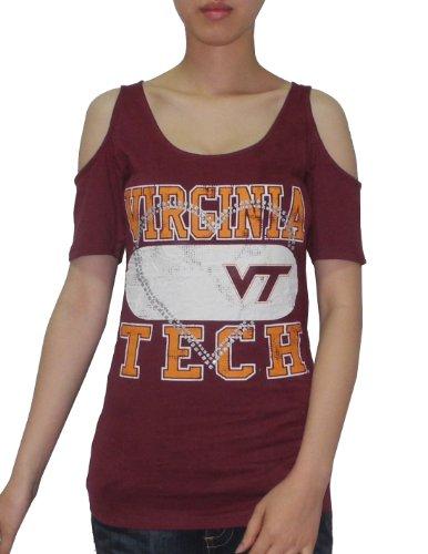 Ncaa Virginia Tech Hokies Womens Crew-Neck Off-The-Shoulder T-Shirt Xl Dark Red