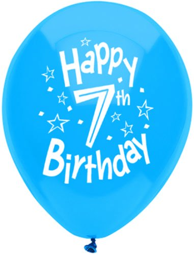 "Pioneer Balloon Company Happy 7th Birthday Latex Balloons (5 Pack), 11"", Assorted"