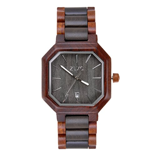 ZLYC Luminous Sandal Wood Watch Japanese Quartz Movement Octagonal Wooden Wrist Watch, Red + Black