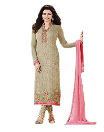 VinayTM Party Wear Formal Wear Suit Embroidered Georgette White Semistitched Salwar Kameez Dupatta