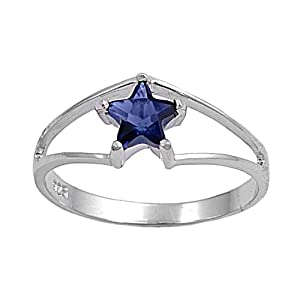 Sterling Silver 7mm Star Blue Cz Ring (Size 4 - 9) - Size 4