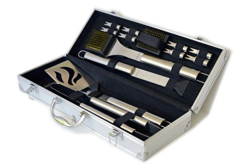 Culina BBQ Set 14 Pcs Stainless Steel. Tough Built Long Lasting Professional Quality Full Range Exhaustive Cutlery In Elegant Design Gift-Ready, Easy Stow Aluminum Carry Case ***Use Promo Code Bbqllice And Get Free Culina Ice Bar Maker Value Of $9.95 ***