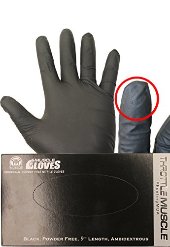 Throttle Muscle TM6463 - Muscle Gloves Industrial Powder Free Nitrile Gloves 6 Mil Textured Finger Medium Box of 100 Industrial Work Gloves