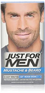 Just for Men Brush-In Color Gel for Mustache & Beard, Light-Medium Brown, M-30, 1 kit, (Pack of 3)