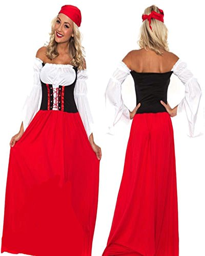 Womens Oktoberfest Beer Maid Peasant Costume German Wench Long Red Dress