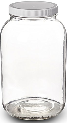 Paksh Novelty Wide Mouth 1 Gallon Clear Glass Jar + Plastic Lid With Airtight Liner Seal for Fermenting Kombucha / Kefir, Storing and Canning / USDA Approved, Dishwasher Safe (Plastic Lids For Gallon Jars compare prices)