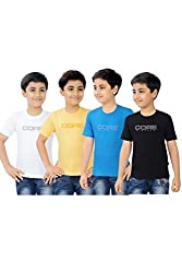Mint Pack of 4 Various colours Cotton Boy's T-Shirt Combo