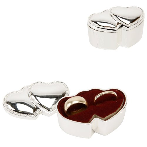 Silver Plated Hearts Design Wedding Ring Box