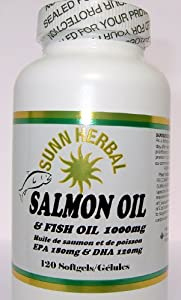 SALMON Oil, Salmon Oil and Fish Oil 1000mg softgels for Cardiovascular Support, Brain Support, and Cognitive Health, Potent Antioxidant Improves Joint Health from Sunn Herbal