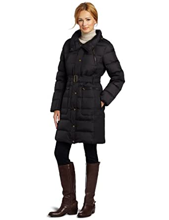 Tommy Hilfiger Women's Belted Down Jacket, Black, X-Large