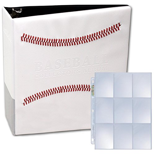 White Stitched Baseball Card Collectors Album With 25 Premium