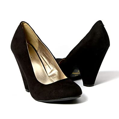 Qupid Women's Shoes Pointy Toe Chunky High Heel Pump, Black Velvet Suede, 10 M US