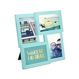 Umbra Pane 4-Opening Desktop Collage Frame, 4x6, Surf Blue
