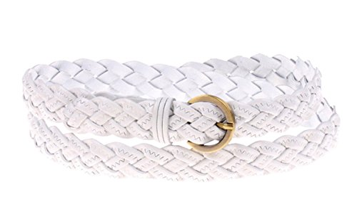 Qunson Womens 42 Inch Braided Skinny Leather Belt (white)