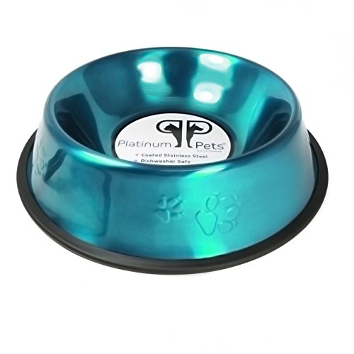 Platinum Pets 2 Cup Embossed Non-Tip Stainless Steel Dog Bowl, Teal