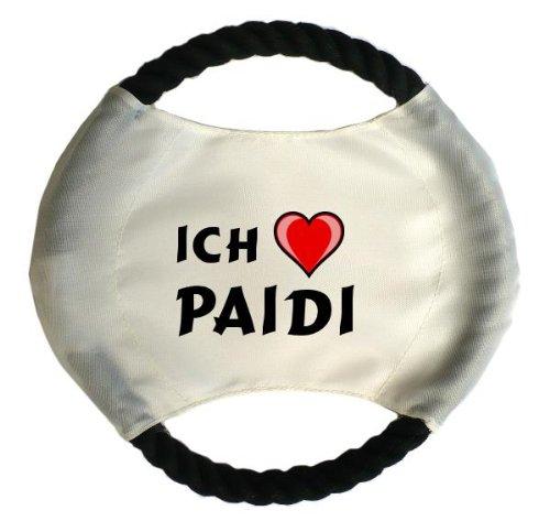 Personalisierter Hundefrisbee mit Aufschrift Ich liebe Paidi (Vorname/Zuname/Spitzname)
