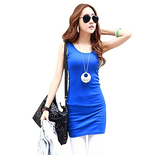 Etosell Women/Girl Candy Color Stretch Casual Vest Mini Dress Bottoming Sundress