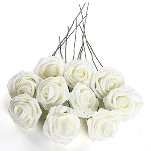 Medius DIY Foam 50Pcs Artificial Flowers For Wedding Arrangement Bouquet Pure White