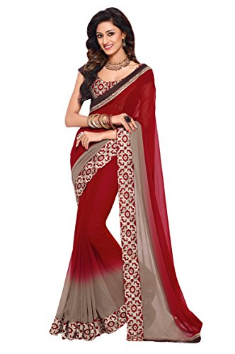 Oomph! Sarees Collection - Georgette Sarees for Women Party Wear With Embroidered Blouse And Border (Jam Red and Cedar Brown Ombre) - ONE colour available
