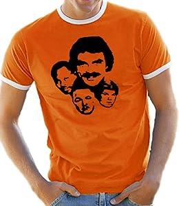 Contrast Ringer T-Shirt S-XXL Magnum P.I. Various Colours orange/white Size:S