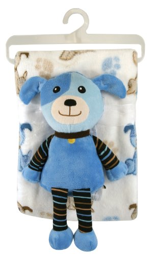 Stephan Baby Super Soft Flannel-Soft Fleece Crib Blanket and Plush Puppy Gift Set, Blue Dog