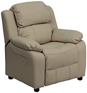 Flash Furniture BT-7985-KID-BGE-GG Deluxe Heavily Padded Contemporary Beige Vinyl Kids Recliner with Storage Arms