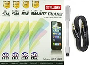 Stallions Screen Guard for Xiaomi Redmi 2 with USB Led Light and Universal Aux Combo