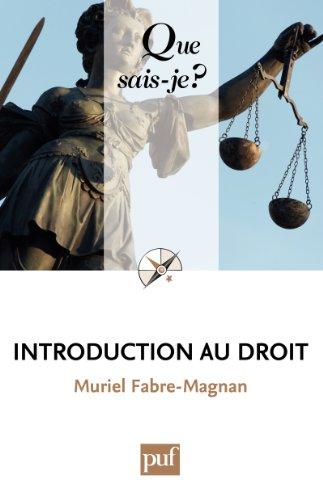 Introduction au droit: « Que sais-je ? » n° 1808
