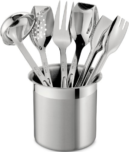 All-Clad T236 Stainless Steel Cook and Serve Kitchen Tools Set with Caddy, 6-Piece, Silver