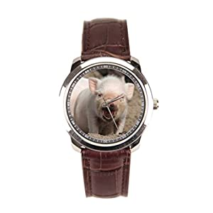 sanYout Watch Straps Leather Animal Leather Mens Watch Piglet Leather Wristband Watch Funny