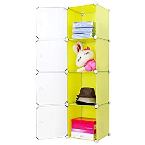 Songmics® Regalsystem DIY Kleiderschrank Badregale Sideboard Kommode Kapazität 200L Gelb LPC04Y