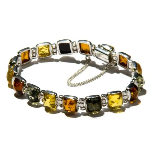 Multi-Color Amber Bracelet with Sterling Silver