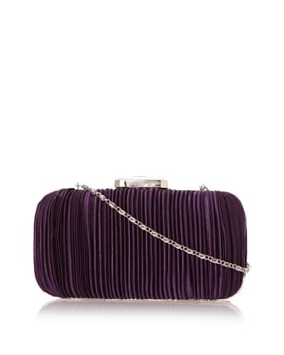 Jessica McClintock Women's Satin Pleated Minaudiere  - Purple