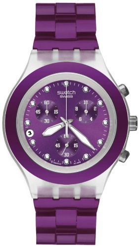 Swatch Irony Diaphane Chrono Full-Blooded Blueberry Violet Dial Unisex watch #SVCK4048AG