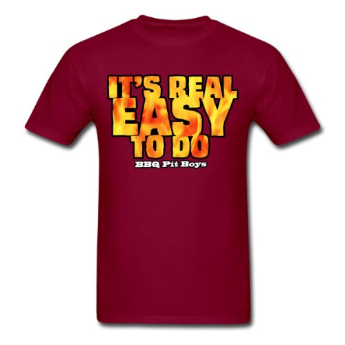 Spreadshirt Men'S It'S Real Easy To Do BBQ Pitboys T-Shirt, Burgundy, L